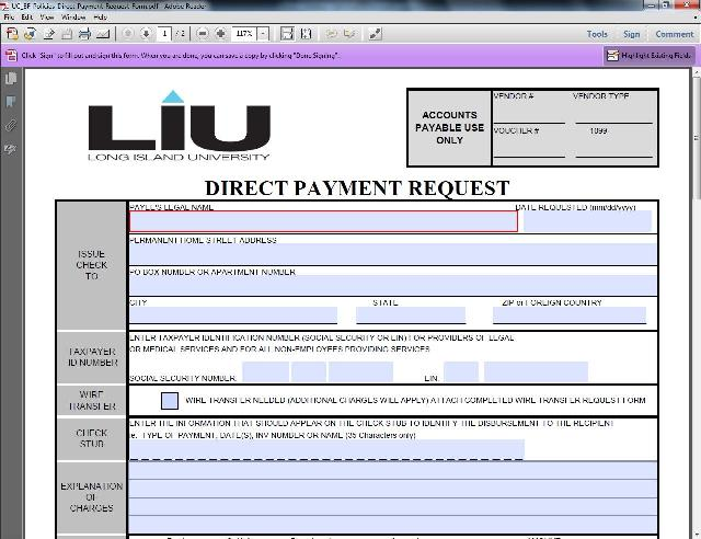 Direct Payment Request Form