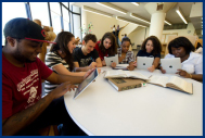 Students around a table with ipads