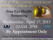 LIU Brooklyn Free Eye Health Screening 2013