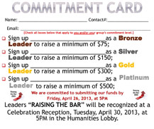 LIU Brooklyn Relay for Life Commitment Card 2013