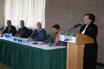 From left: Professors Glenn McGee, Tavis Barr, Vic DiVenere, Mark Pires, and host Dr. Sherri Coe-Perkins, associate provost for student affairs.