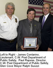 Left to Right - James Contarino, Lieutenant, C.W. Post Department of Public Safety,  Paul Rapess, Director, C.W. Post Department of Public Safety, Glen Cove Mayor Ralph Suozzi