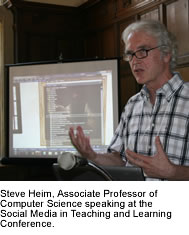 Steve Heim, Associate Professor of Computer Science speaking at the Social Media in Teaching and Learning Conference.