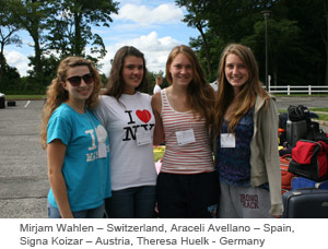 Four AFS Students - Mirjam Wahlen – Switzerland, Araceli Avellano – Spain, Signa Koizar – Austria, Theresa Huelk - Germany