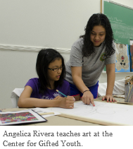 Angelica Rivera working with student