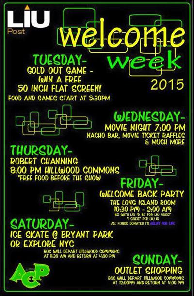 welcome week 2015 long island university. Black Bedroom Furniture Sets. Home Design Ideas