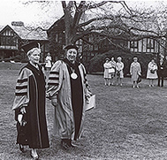 Marjorie Post glides over the vast lawn with Long Island University Chancellor and President of C.W. Post, R. Gordon Hoxie, during commencement exercises on May 14, 1967.