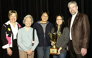 Dr. Paul Forestell, Dr. Katherine Hill-Miller, and our 2010 Brain Bee winner, Yvette Leung with her mom and grandmother.