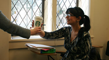 Delivering Coffee to Student in Classroom