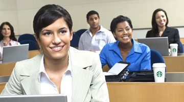 Happy students sitting in Continuing Education class