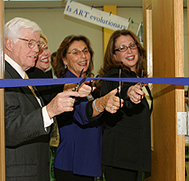 From left: State Sen. Thomas P. Morahan; Rockland Graduate Campus Associate Provost Nancy Low Hogan; Dr. Nancy T. Goldman, director of Curriculum and Instruction, and Professor Elaine Geller, director of Special Education and Literacy cut the ribbon.